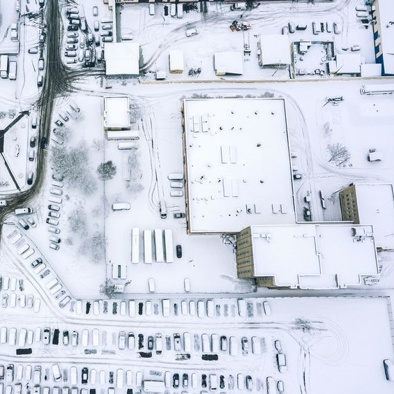 snow on a commercial roofing system