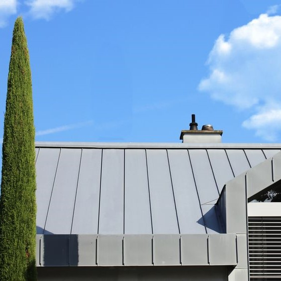 Metal roofing on building