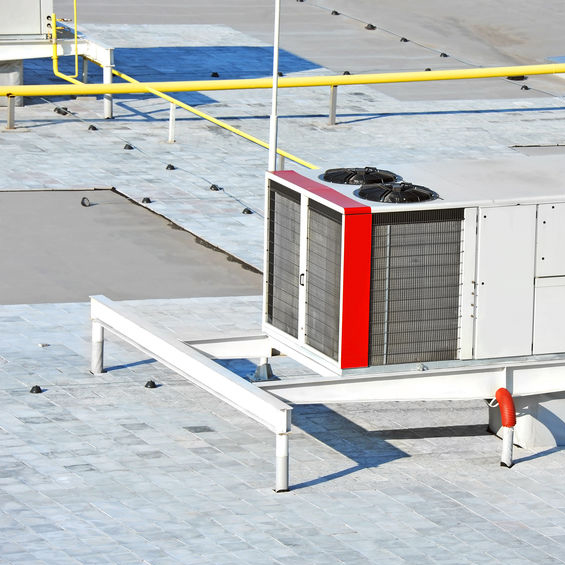 HVAC system on cool roof